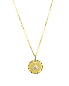 David Yurman - Cable Collectibles Initial Pendant with Diamonds in Gold on Chain, 16-18""