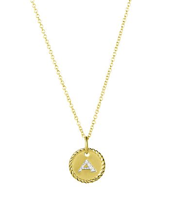 """David Yurman - Cable Collectibles Initial Pendant with Diamonds in Gold on Chain, 16-18"""""""