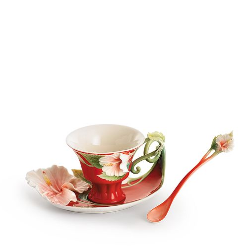 Franz Collection - Island Beauty Hibiscus Flower Cup & Saucer with Spoon