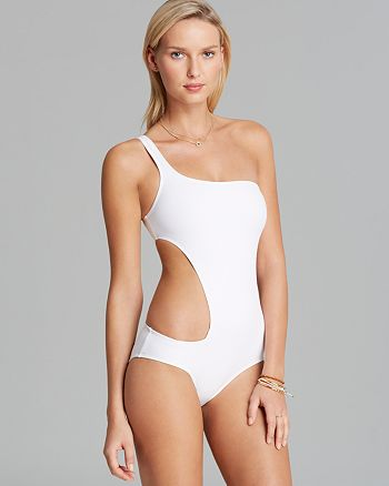 d9f6fe8597b79 DKNY Solid One Shoulder Asymmetrical Cut Out One Piece Swimsuit ...