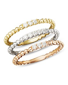 Bloomingdale's - Diamond Band Set in 14K Yellow, White and Rose Gold, .25 ct. t.w. - 100% Exclusive