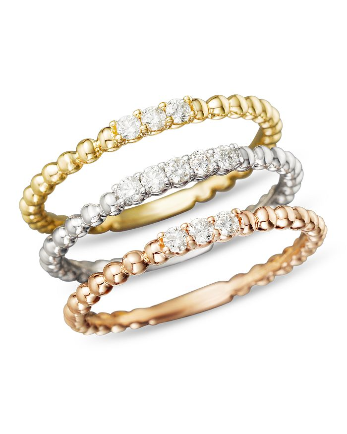 Bloomingdale's - Diamond Band Set in 14K Yellow, White and Rose Gold, .25 ct. t.w.- 100% Exclusive