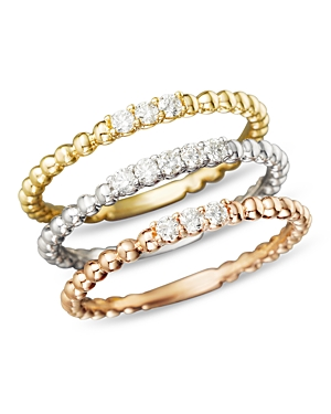 Diamond Band Set in 14K Yellow, White and Rose Gold, .25 ct. t.w. - 100% Exclusive