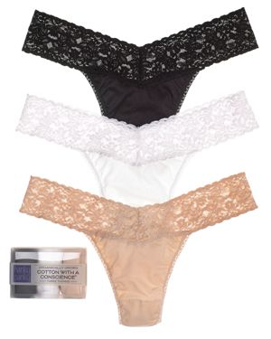 Hanky Panky Cotton with a Conscience Original-Rise Thongs, Set of 3