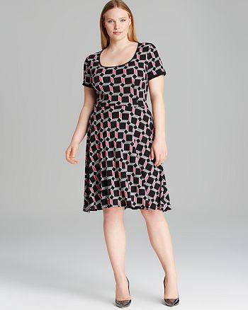 Melissa Masse Plus - Short Sleeve Print Luxe Jersey Dress