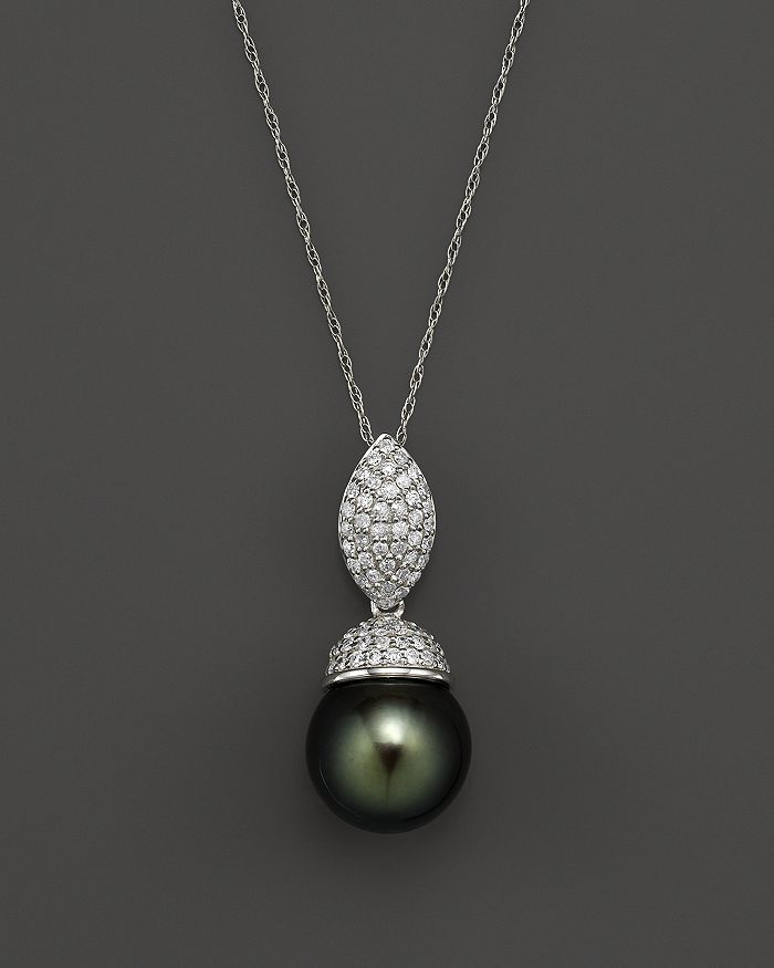 "Bloomingdale's - Cultured Tahitian Pearl and Diamond Pendant Necklace in 14K White Gold, 18"" - 100% Exclusive"