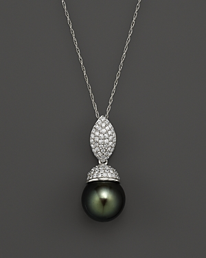 Cultured Tahitian Pearl and Diamond Pendant Necklace in 14K White Gold, 18