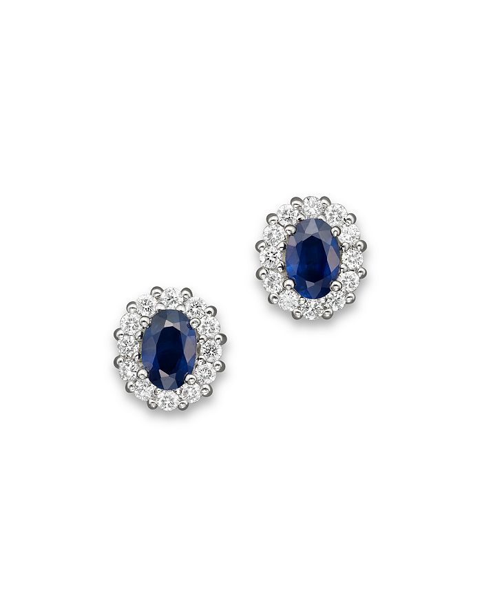 Bloomingdale's - Blue Sapphire and Diamond Oval Stud Earrings in 14K White Gold- 100% Exclusive