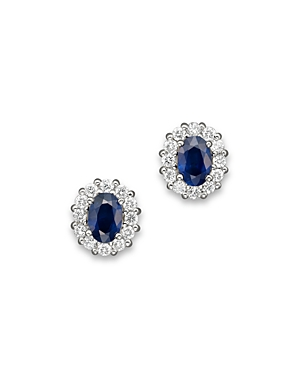 Sapphire and Diamond Oval Stud Earrings in 14K White Gold - 100% Exclusive