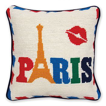 "Jonathan Adler - Jet Set Paris Pillow, 12"" x 12"""