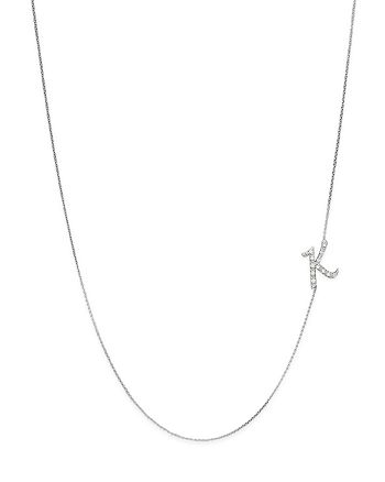 KC Designs - Diamond Side Initial K Necklace in 14K White Gold, .07 ct. t.w.