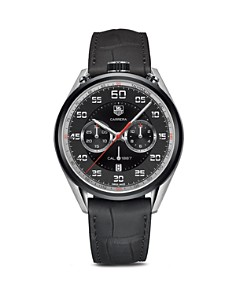 TAG Heuer Carrera Calibre 1887 Chronograph Stainless Steel and Black Leather Watch, 45mm - Bloomingdale's_0
