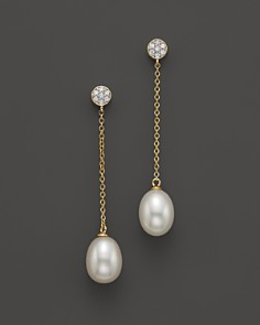 Cultured Freshwater Pearl and Diamond Earrings in 14K Yellow Gold, 8.5mm - Bloomingdale's_0