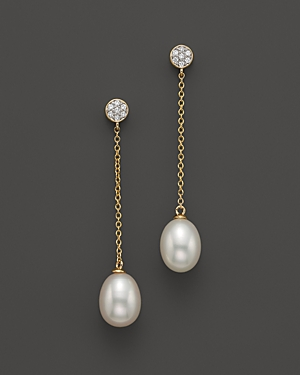 Cultured Freshwater Pearl and Diamond Earrings in 14K Yellow Gold, 8.5mm