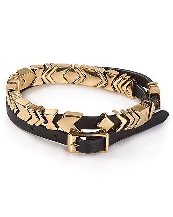 House Of Harlow 1960 Aztec Leather Wrap Bracelet