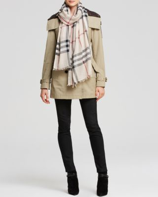 Giant Check Wool & Silk Gauze Scarf