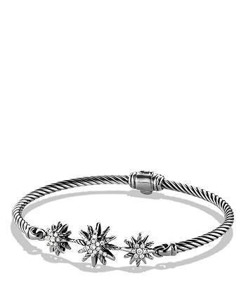 David Yurman - Starburst Three-Station Cable Bracelet with Diamonds in Sterling Silver