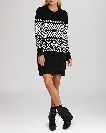 BCBGeneration - Oversize Jacquard Sweater Dress