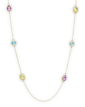 """Bloomingdale's - Amethyst, Blue Topaz and Prasiolite Station Necklace in 14K Yellow Gold, 36""""- 100% Exclusive"""