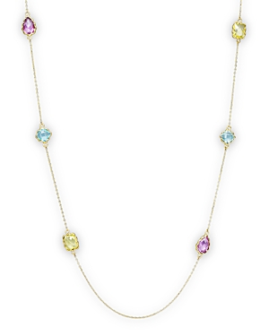 Amethyst, Blue Topaz and Prasiolite Station Necklace in 14K Yellow Gold, 36 - 100% Exclusive