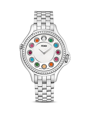 fendi female fendi crazy carats stainless steel rotating gemstones watch with diamond bezel dial 38mm