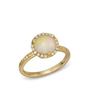 Opal and Diamond Halo Ring in 14K Yellow Gold - 100% Exclusive