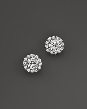 Certified Diamond Halo Stud Earrings in 14K White Gold, 3.0 ct. t.w. - 100% Exclusive