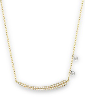 """Meira T - 14K Yellow Gold Pavé Diamond Curved Bar Necklace with 14K White Gold Side Bezels, 16"""""""
