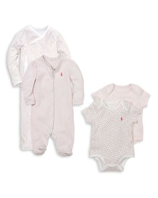 Girls' Floral Trim Coverall - Baby
