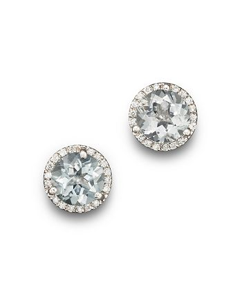 Bloomingdale's - Aquamarine and Diamond Halo Stud Earrings in 14K White Gold - 100% Exclusive