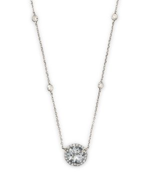Aquamarine and Diamond Halo Pendant Necklace with 4 Stations in 14K White Gold, 16 - 100% Exclusive