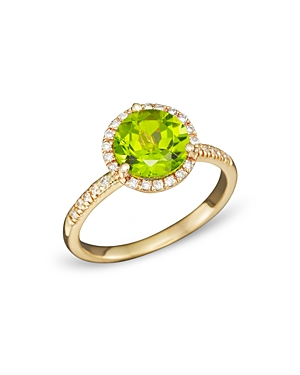 Peridot and Diamond Halo Ring in 14K Yellow Gold - 100% Exclusive