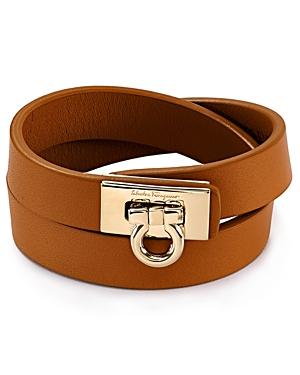 Salvatore Ferragamo Gancini Double Wrap Leather Bracelet
