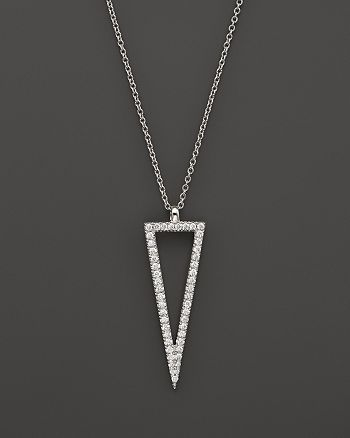 Bloomingdale's - Diamond Open Triangle Pendant Necklace in 14K White Gold, .35 ct. t.w.