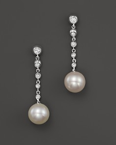 Cultured Freshwater Pearl Drop Earrings With Diamonds In 14k White Gold 8mm Bloomingdale