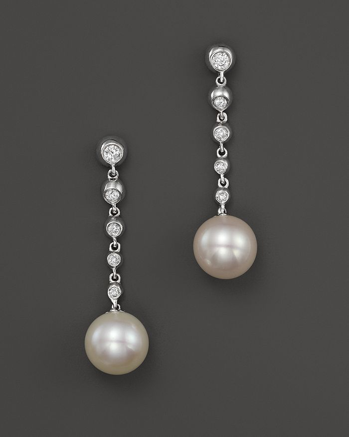 Bloomingdale's - Cultured Freshwater Pearl Drop Earrings with Diamonds in 14K White Gold, 8mm- 100% Exclusive