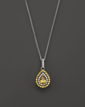 Yellow and White Diamond Pear Shaped Pendant Necklace in 18K White and Yellow Gold, 17L - 100% Exclu