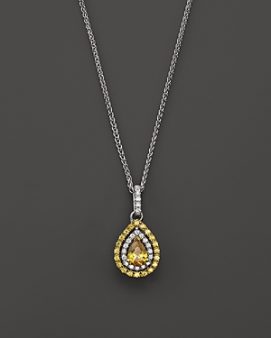 Yellow and White Diamond Pear Shaped Pendant Necklace in 18K White and Yellow Gold, 17L - 100% Exclusive