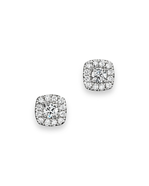 Diamond Square Halo Stud Earrings in 14K White Gold, .30 ct. t.w. - 100% Exclusive