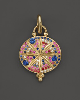Temple St. Clair - Temple St. Clair 18K Yellow Gold Sorcerer Pendant with Mixed Sapphires