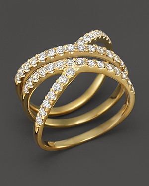 Diamond Crossover Ring in 14K Yellow Gold, .85 ct. t.w. - 100% Exclusive