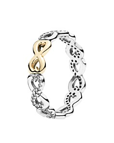 PANDORA - 14k Gold, Sterling Silver & Cubic Zirconia Infinite Love Ring