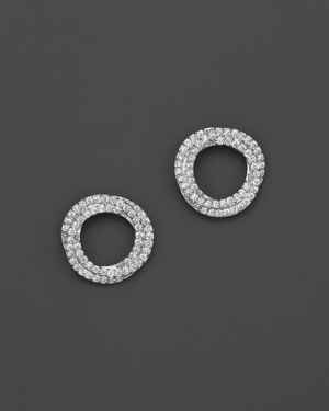 Diamond Circle Stud Earrings in 14K White Gold, .45 ct. t.w. - 100% Exclusive