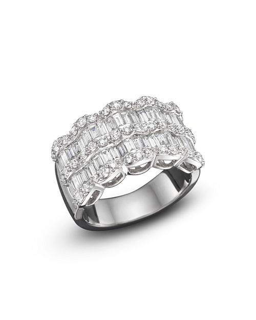 Bloomingdale's - Baguette Diamond Statement Ring in 14K White Gold, 1.75 ct. t.w. - 100% Exclusive