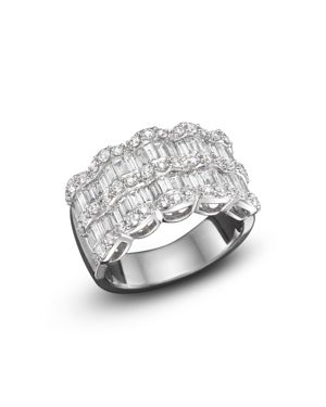 Baguette Diamond Statement Ring in 14K White Gold, 1.75 ct. t.w.
