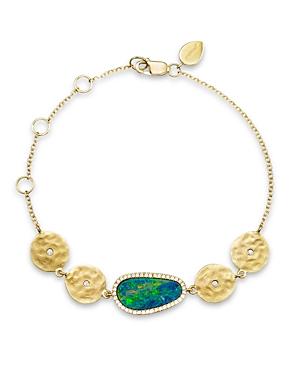 Meira T 14K Yellow Gold Opal Disc Bracelet with Diamonds