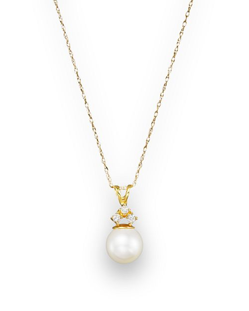 """Bloomingdale's - Cultured Pearl and Diamond Pendant Necklace in 14K Yellow Gold, 18""""- 100% Exclusive"""