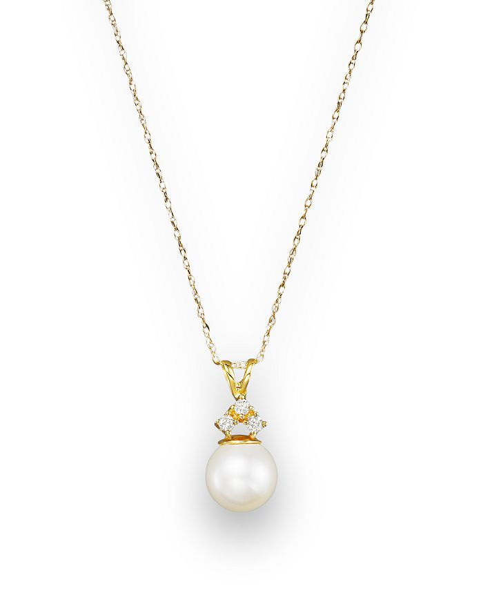 "Bloomingdale's - Cultured Pearl and Diamond Pendant Necklace in 14K Yellow Gold, 18"" - 100% Exclusive"
