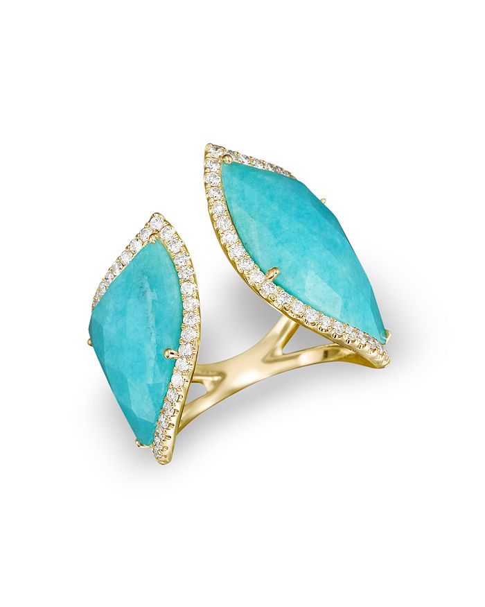 Meira T - 14K Yellow Gold Amazonite Double Open Curve Ring