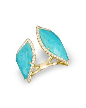 Meira T 14K Yellow Gold Amazonite Double Open Curve Ring